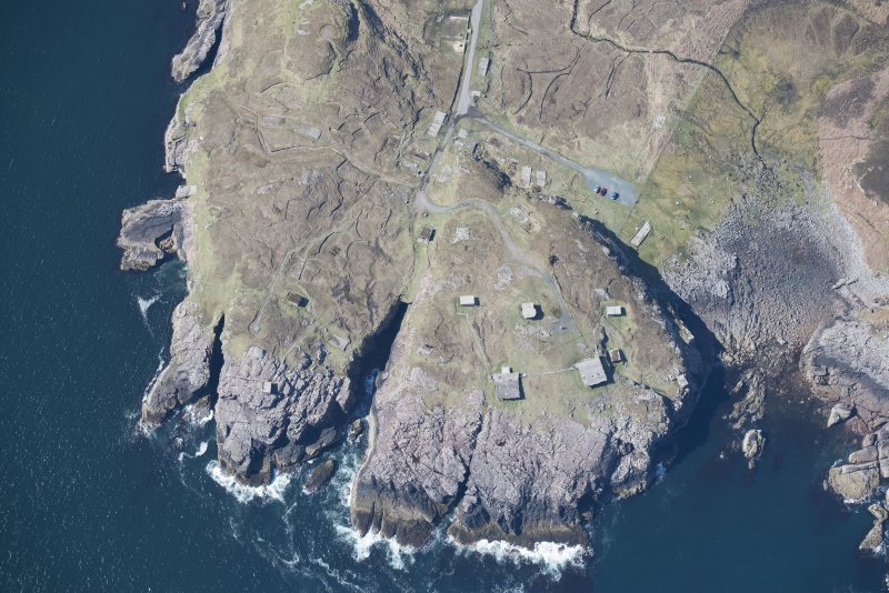 Oblique aerial view of Rubha nan Sasan gun emplacement, looking SW.