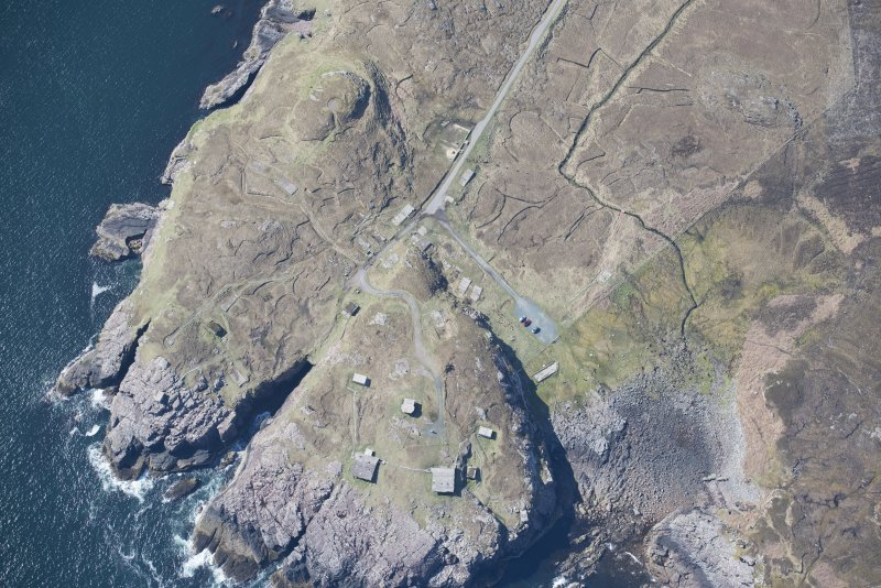 Oblique aerial view of Rubha nan Sasan gun emplacement, looking S.