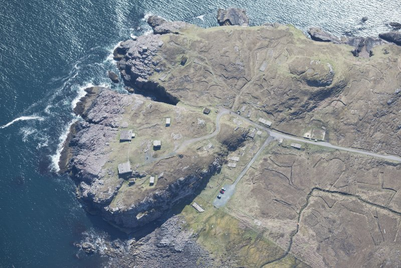 Oblique aerial view of Rubha nan Sasan gun emplacement, looking SE.