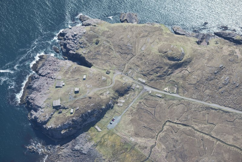 Oblique aerial view of Rubha nan Sasan gun emplacement, looking ESE.