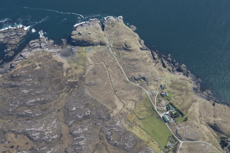 Oblique aerial view of Rubha nan Sasan gun emplacement, looking NE.