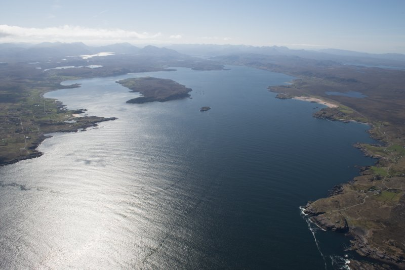 General oblique aerial view of Loch Ewe with Loch Maree beyond, looking S.
