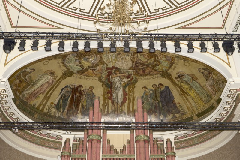Detail of mural in semi dome above organ at rear of stage. Music Hall, Aberdeen.
