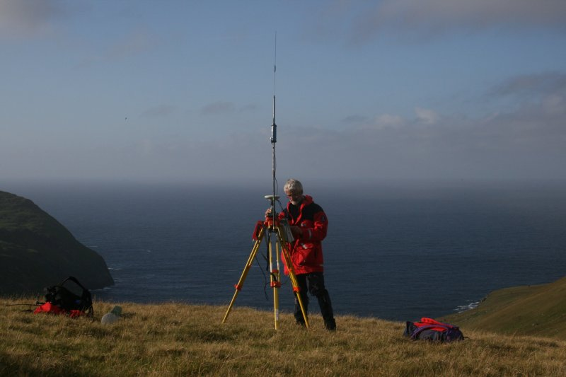 Mr Ian Parker of RCAHMS taking down the GPS base station on Hirta, St Kilda.