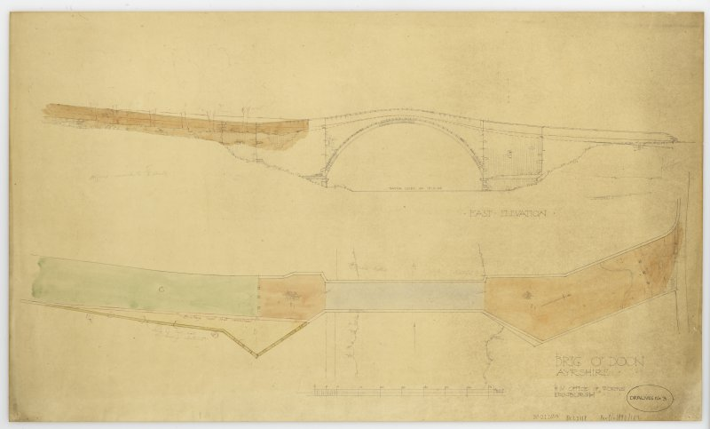 Coloured east elevation and plan of Brig o' Doon and mechanical copy