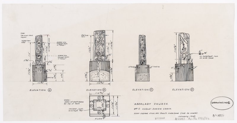 Elevations and plan of 8th century Anglo-Saxon cross at Aberlady Church