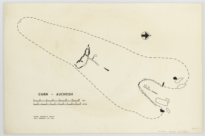 Plan of long cairn at Auchoish showing destroyed chamber.