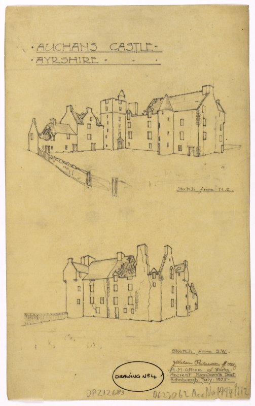 Sketches of Auchans Castle from north east and south east