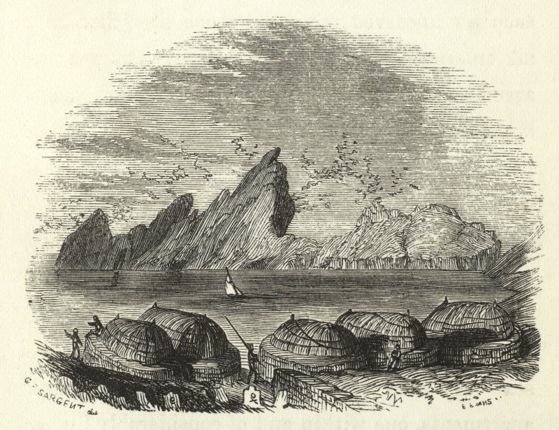 View of the burial ground and village, St Kilda. Copied from Wilson's Voyage Round the Coast of Scotland and the Isles, v2.