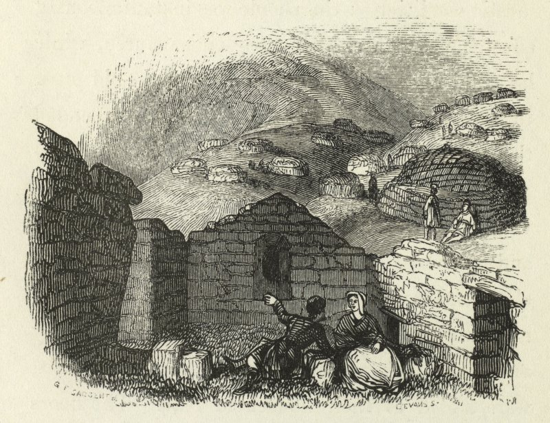 Interior of ruinous ?chapel with blackhouses in the distance, St Kilda. Copied from Wilson's Voyage Round the Coast of Scotland and the Isles, v2.