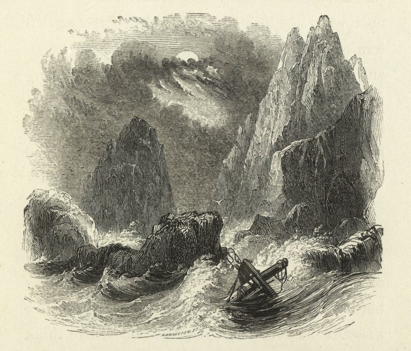 View of a shipwreck among the stacs and cliffs of St Kilda. Copied from Wilson's Voyage Round the Coast of Scotland and the Isles, v2.