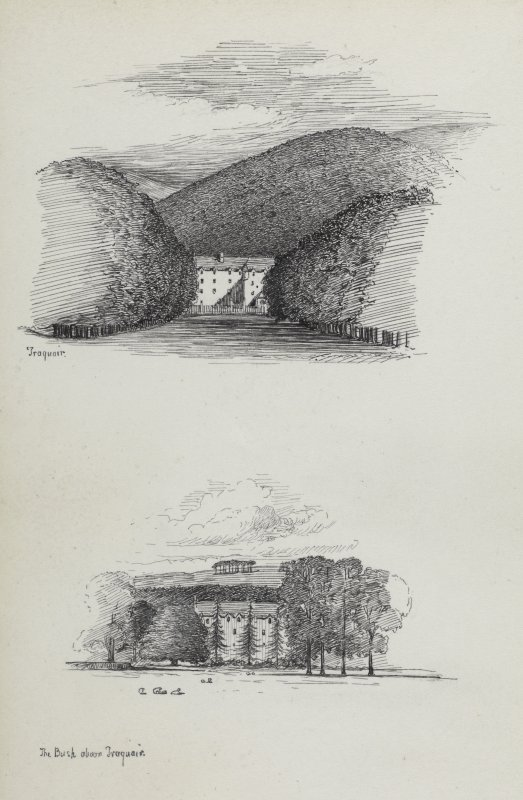 Two sketches showing Traquair House.