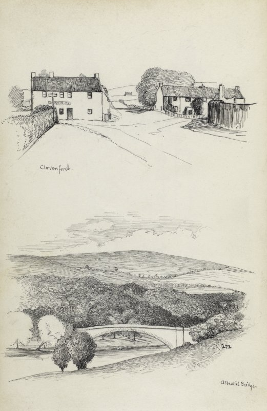 Sketches of Clovenford village and Ashestiel bridge.