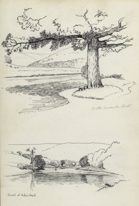 Sketches showing the River Tweed at Ashiestiel.