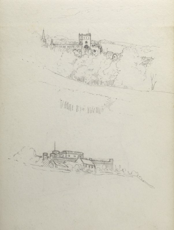 Sketches of Jedburgh Abbey and Jedburgh Castle Jail.