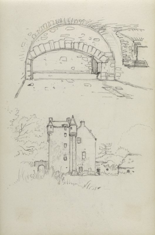 Sketch of Ferniehirst Castle and a detail of building.