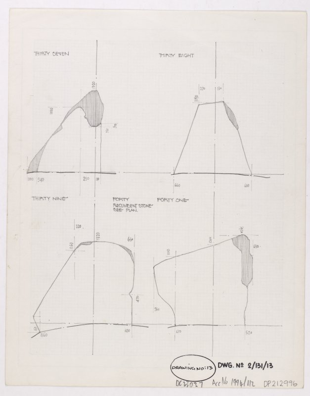 Sketch of four of the Achkinloch Standing Stones, Loch Stemster