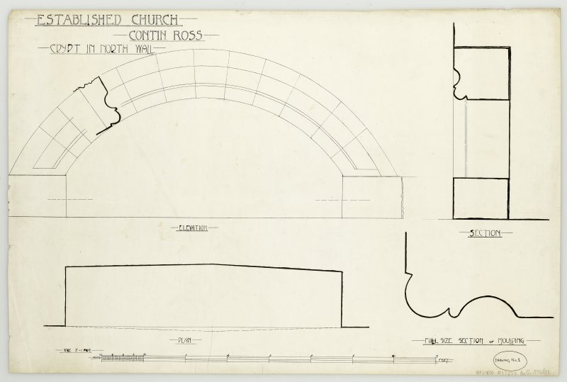 Plan, elevation and section of Established Church in Contin, Ross