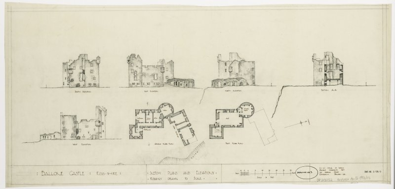 Sketch plan and elevations of Ballone Castle, Ross-shire