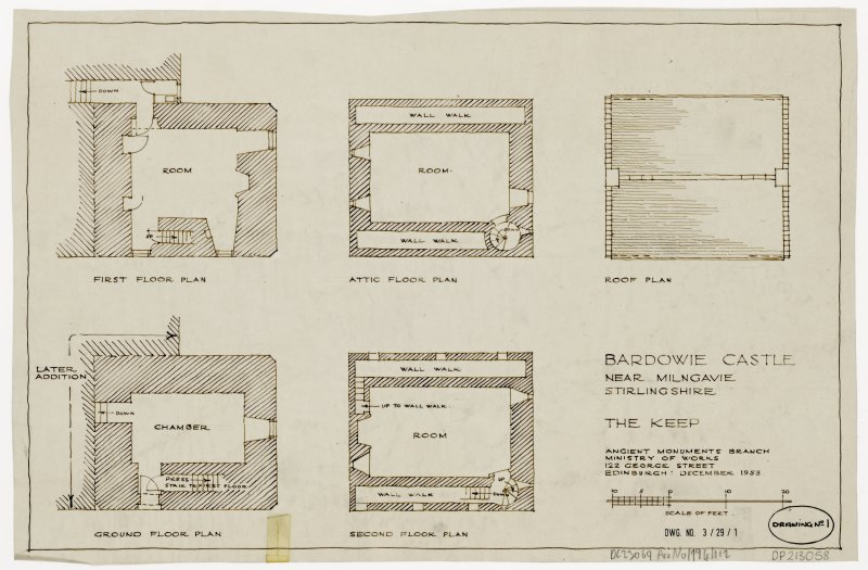 Floor plans of Bardowie Castle,  Milngavie
