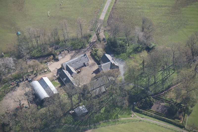 Oblique aerial view of Wester Kittochside Farm, looking E.