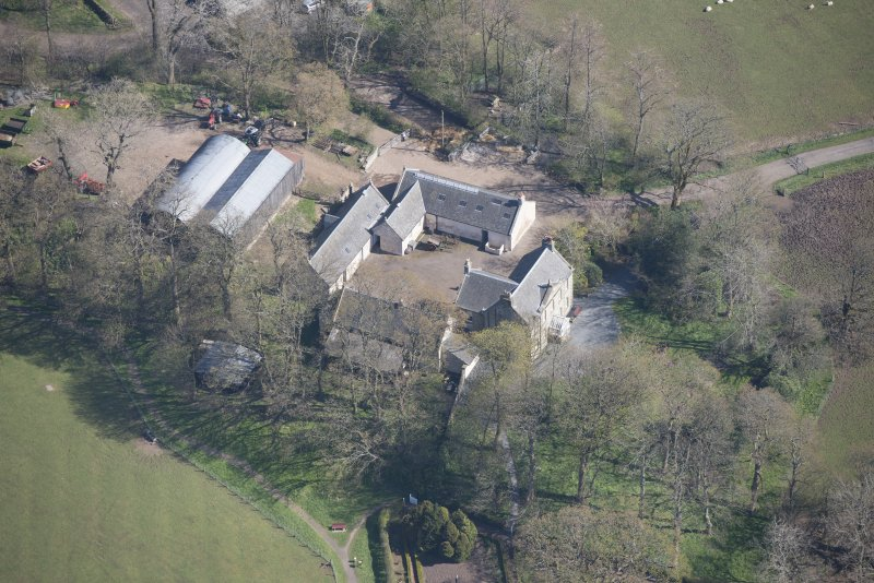 Oblique aerial view of Wester Kittochside Farm, looking NE.