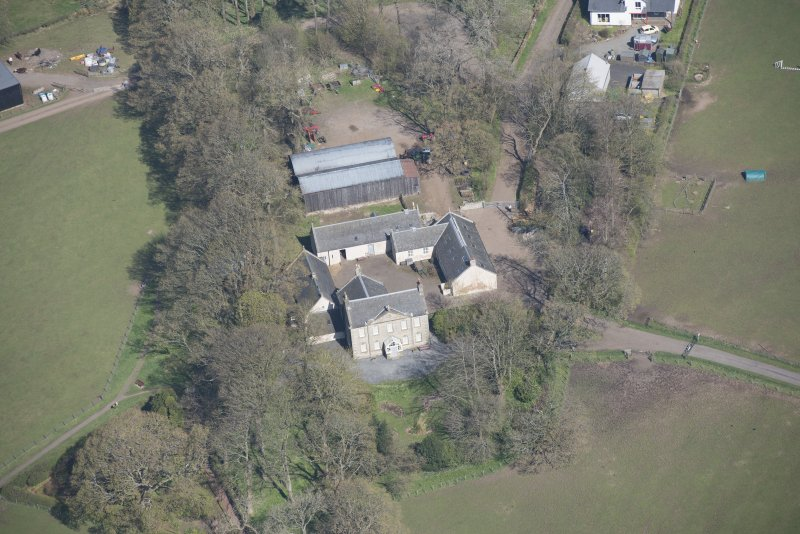 Oblique aerial view of Wester Kittochside Farm, looking NNW.