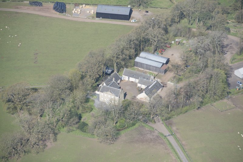 Oblique aerial view of Wester Kittochside Farm, looking NW.