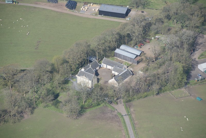 Oblique aerial view of Wester Kittochside Farm, looking WNW.