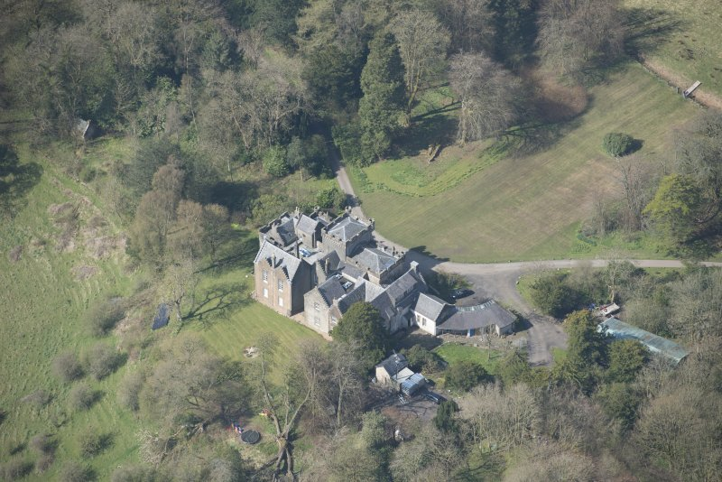 Oblique aerial view of Craufurdland Castle, looking W.