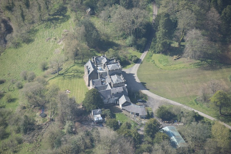 Oblique aerial view of Craufurdland Castle, looking WSW.