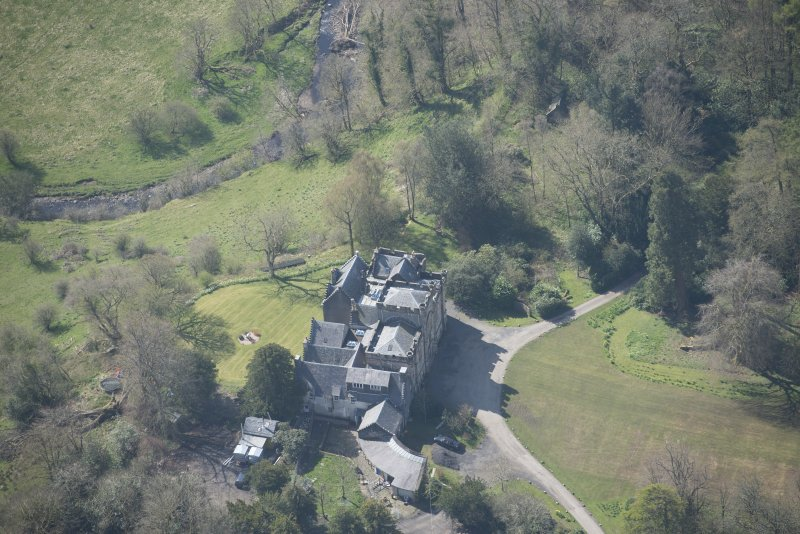 Oblique aerial view of Craufurdland Castle, looking SW.