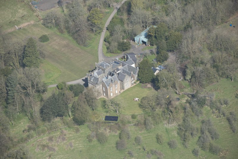 Oblique aerial view of Craufurdland Castle, looking N.