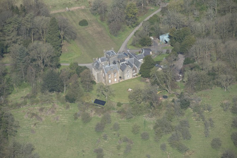 Oblique aerial view of Craufurdland Castle, looking NNW.