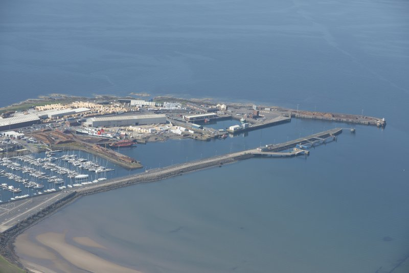 Oblique aerial view of Troon Harbour, looking WSW.