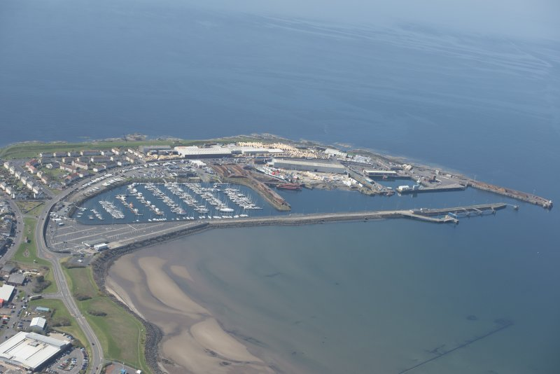 Oblique aerial view of Troon Harbour, looking SW.