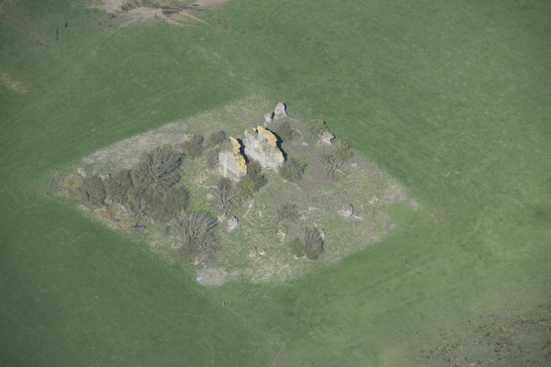 Oblique aerial view of Graigie Castle, looking NW.