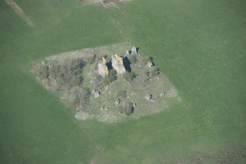 Oblique aerial view of Graigie Castle, looking WNW.