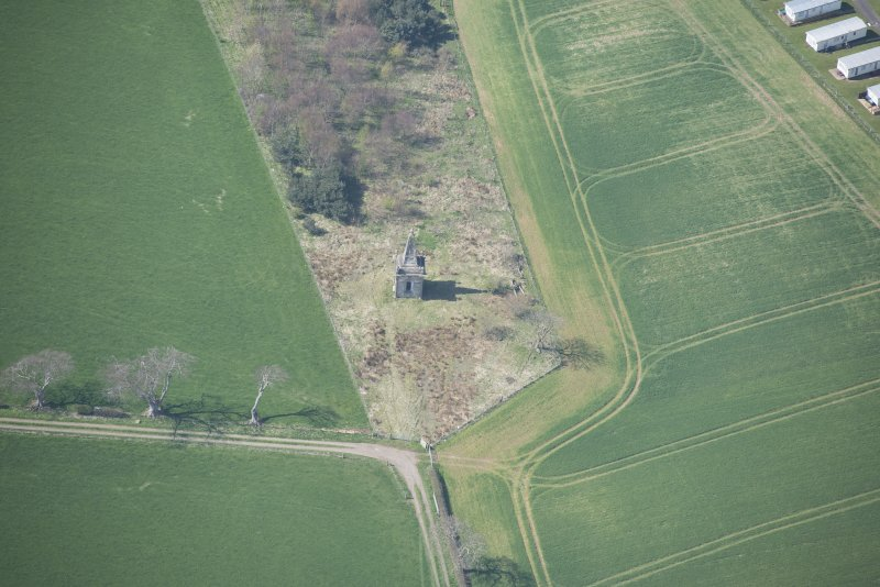 Oblique aerial view of Macrae's Monument, looking WSW.