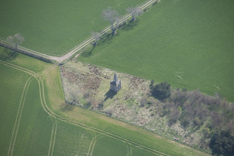 Oblique aerial view of Macrae's Monument, looking S.