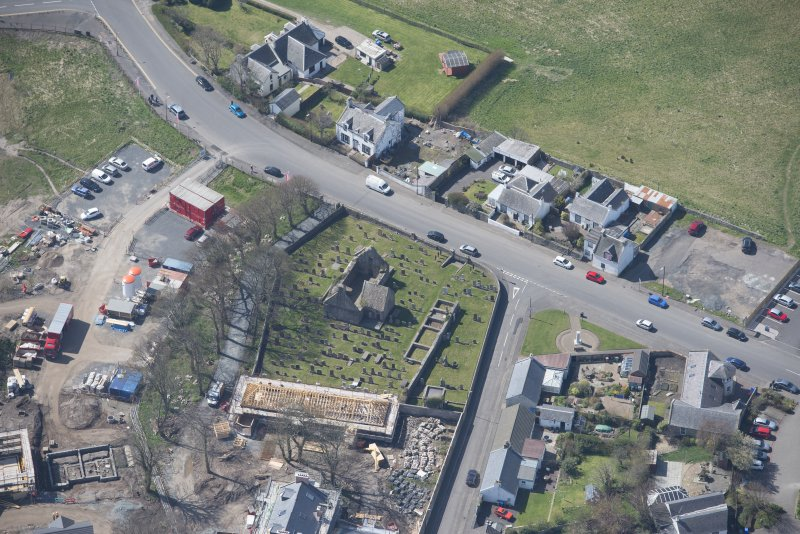 Oblique aerial view of Monkton Old Parish Church and cemetery, looking SW.