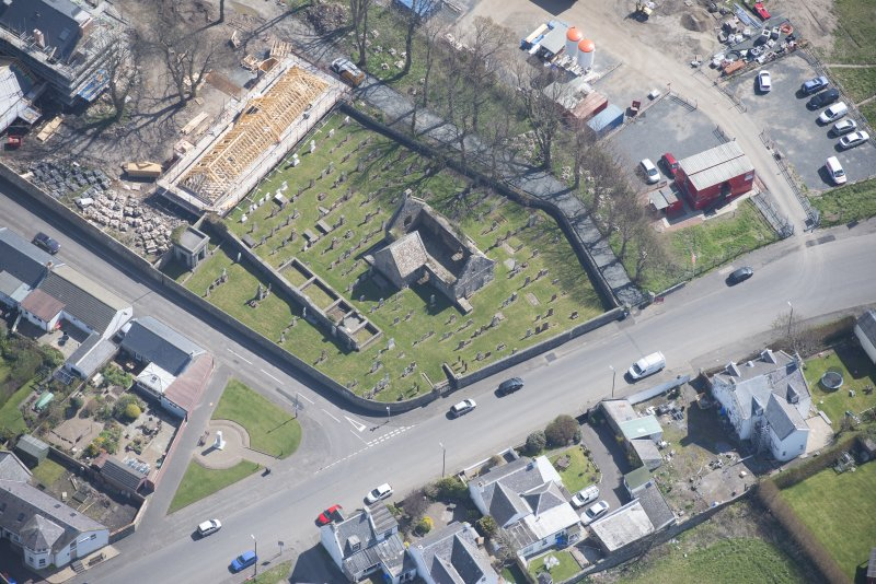 Oblique aerial view of Monkton Old Parish Church and cemetery, looking ESE.