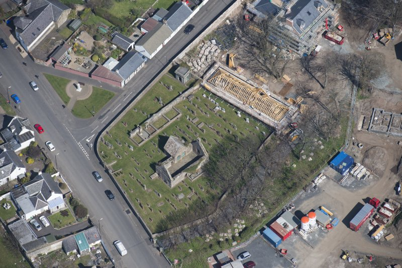 Oblique aerial view of Monkton Old Parish Church and cemetery, looking NE.