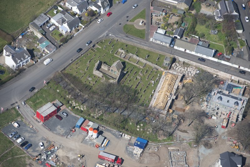 Oblique aerial view of Monkton Old Parish Church and cemetery, looking NW.