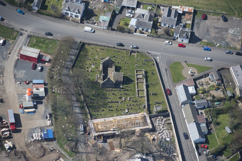 Oblique aerial view of Monkton Old Parish Church and cemetery, looking WSW.