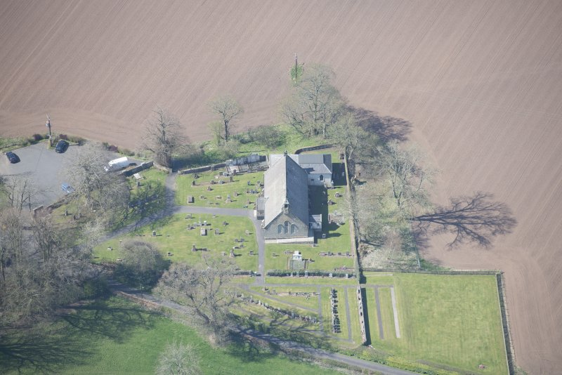 Oblique aerial view of Stair Parish Church, looking W.