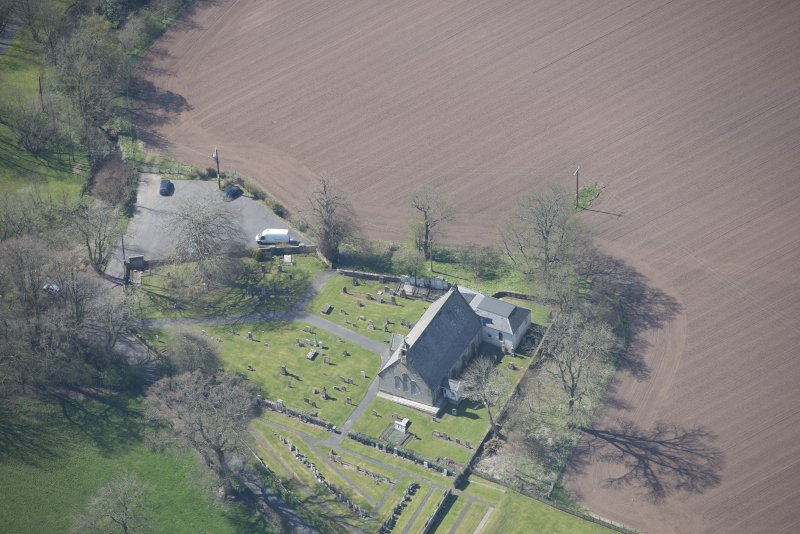 Oblique aerial view of Stair Parish Church, looking SW.