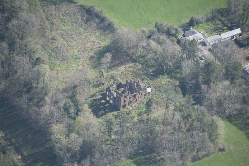 Oblique aerial view of Dalmore House, looking E.