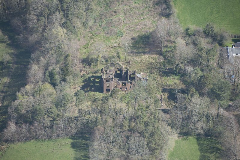 Oblique aerial view of Dalmore House, looking NW.