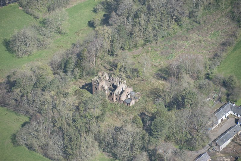 Oblique aerial view of Dalmore House, looking NNE.